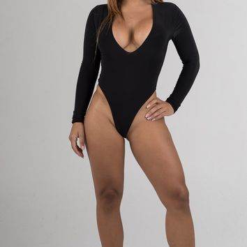 Black Low Cut Long Sleeves Bodysuit