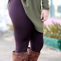 Solid Fleece Lined Leggings {Coffee}