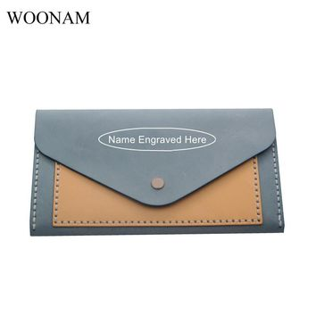 WOONAM Handmade Strong Stitch Name Engraved Personalized Custom Contrast Color Genuine Calf Leather Long Sisters Wallet WB227