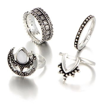 Moon Knuckle Rings Set For Women Midi Finger Ring Open Adjustable V Shape Antique Silver Color Opal Carved Flower Jewelry 4PCS