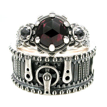 Steampunk Wedding Ring Set - Rose Cut Garnet and Black Diamonds - Sterling Silver Gear Ring with Rivets