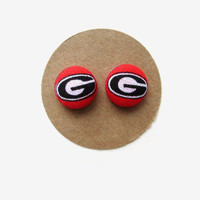Georgia Bulldog Earrings, Dawgs, Game Day Earrings, Football Earrings, Georgia Football Accessories, Red and Black Studs, Fabric Buttons