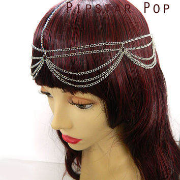 Silver Chain Headpiece - Medieval Gothic Fashion - Hair jewelry chain circlet for princess cosplay,elven costume, wedding headdress