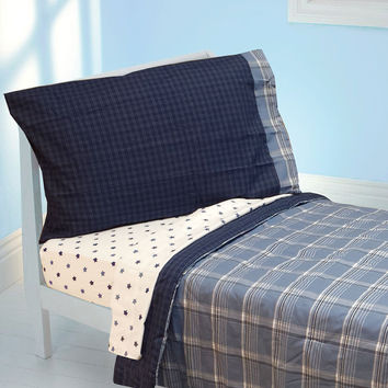 Westport Blue Plaid Toddler Bedding Set 4pc Comforter Sheets