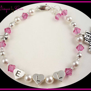 First Communion Bracelet Cross Initial Name Personalized Pearl Silver Crystal colors girls, baby, toddler, christening baptism and baby gift