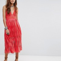 Free People Matchpoint Lace Layer Midi Dress at asos.com
