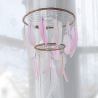 Dream Catcher Chandelier Mobile - Pink White Blush Dream Catcher Chandelier Mobile Boho Baby Mobile Tribal Crib Nursery Baby Girl Baby boy