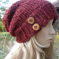 Dark Red Burgundy Merlot Cranberry Slouchy Hand Knit Oversized Ribbed Woodsy Beanie Hat With Wood Buttons