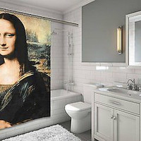 "Louvre Collection Mona Lisa Design Fabric Shower Curtain Size: 70"" x 72"""