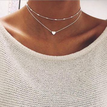 New Silver Gold Color Jewelry Love Heart Necklaces & Pendants Double Chain