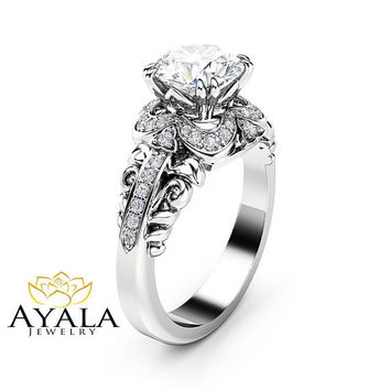 Unique Halo Moissanite Engagement Ring 14K White Gold Ring Art Deco Styled Diamond Ring