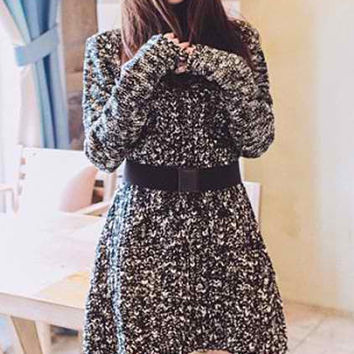 Turtle Neck Long Sleeve Knitted Dress