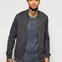 ASOS | ASOS Jersey Bomber Jacket In Charcoal at ASOS