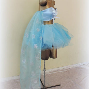 Elsa frozen costume, adult frozen elsa costume, sexy halloween tutu, Blue white tutu skirt,frozen cape