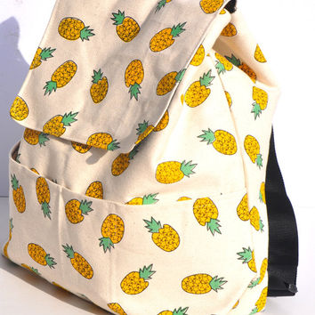 Back Pack canvas pineapple (with free pineapple storage pouch) - with additional pockets on the outer front, travel bag, school bag