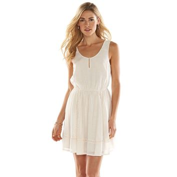 LC Lauren Conrad Crochet Peasant Dress