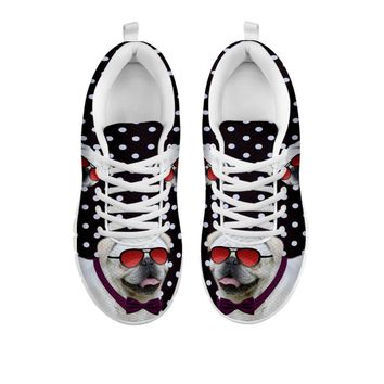 Cute Pug Dog Glasses With Tie Print Running Shoes For Women-Free Shipping-For 24 Hours Only