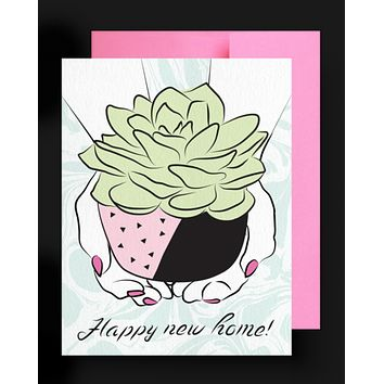 Happy New Home Card Succulent Greeting Card