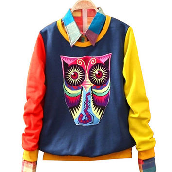 Blue Cartoon Owl Print  Sweatshirt