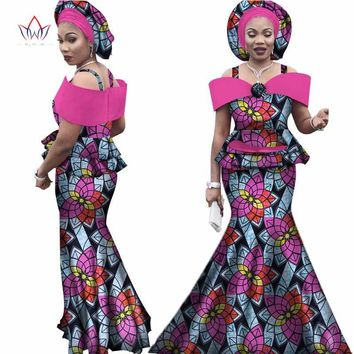 Free headtie Africa Sets for Women Dashiki Plus Size Africa Clothes Bazin Short Sleeve Traditional African Clothing WY3113