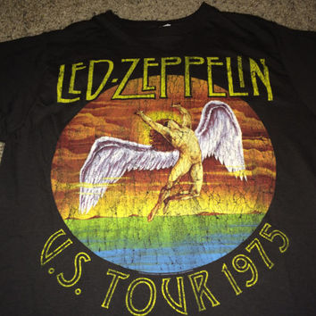 Sale!! Vintage LED ZEPPELIN United States of America 1975 T shirts metal band music tee