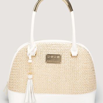 bebe Womens Delane Dome Satchel Natural White