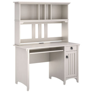 Bush Furniture Salinas Mission Desk and Hutch Antique White Finish '