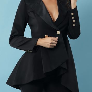 Daytime Drama Black Long Sleeve Double Breasted Asymmetric Ruffle Button Jacket Outerwear