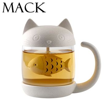MACK Cute Cat Glass Personality Milk Mug With Infuser Office Coffee Tumbler Creative Breakfast Mugs MCC042