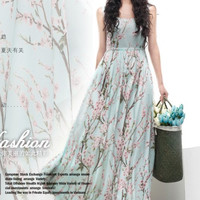 Floral A-line Maxi Dress Blue Green Pink Print Full Pleated Skirt Bohemian Wedding Bridesmaid Holiday Prom Party Evening Event Ball Gown