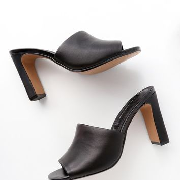 Jensen Black Leather Peep-Toe Mules