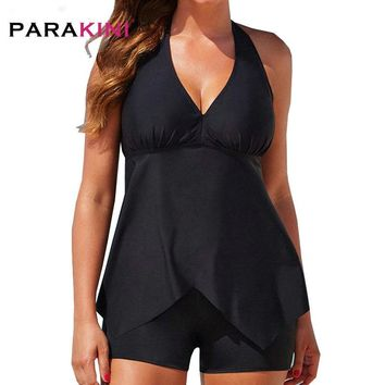 PARAKINI 2018 Women Swimwear Sexy Two Pieces Retro Tankini Swimsuit Bather Beach Bathing Suit Sport Bodysuit Black Plus Size 3XL