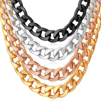 U7 Cuban Link Chain Necklace Rose Gold/Black Gun/Silver/Gold Color 7MM Long/Choker Men Jewelry Hip Hop N317