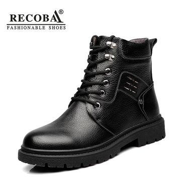 Men boots casual shoe luxury genuine leather ankle boots warm waterproof snow boots martin rain boots men fur boots