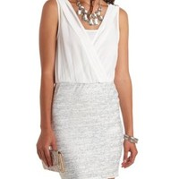 Glitter & Pleated Chiffon Blouson Dress - White Combo