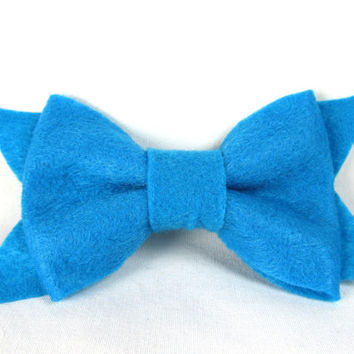 Dog Collar bow - Teal Felt Dog Bow - Bow for girl dog collar