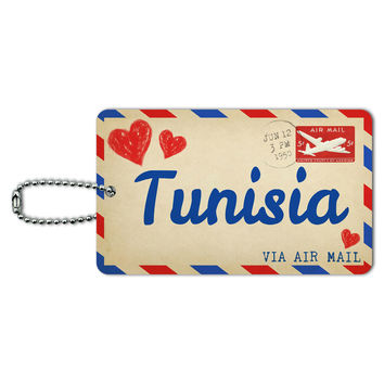 Air Mail Postcard Love for Tunisia ID Card Luggage Tag