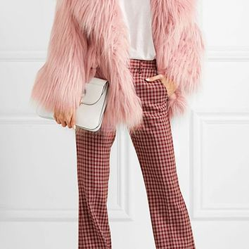 Pinkie Promise Pink Shaggy Faux Fur Long Sleeve Oversized Lapel Thick Coat Outerwear