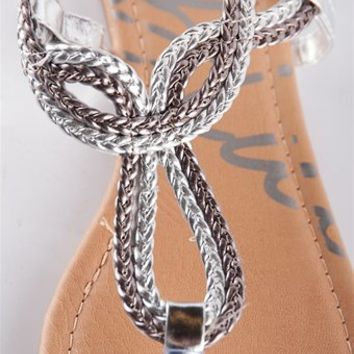 Braided Loop Sandal - Silver from Sandals at Lucky 21 Lucky 21