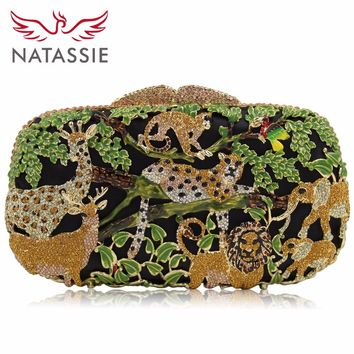 NATASSIE Evening Bags Women Clutches Bag Ladies Crystal Purses Female Zoo Animal Party Clutch