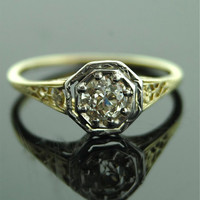 Antique Engagement Ring - 14k Yellow and White Gold