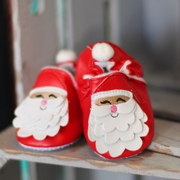 Baby's Santa Christmas Bootie {Red+White}