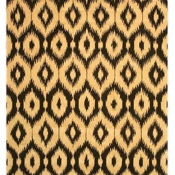 EORC Hand-tufted Wool Black Contemporary Abstract Gold Ikat Rug