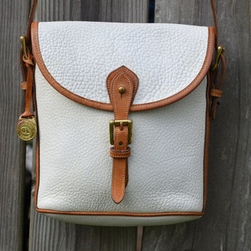 Vintage Dooney and Bourke White Tab Leather Purse Satchel