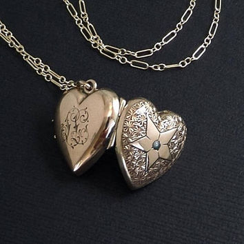 """Antique Victorian HEART Locket, PEARL Locket Necklace, Rose Gold Locket Star Motif, GLASS Covers & Frames, 24"""" Gold Filled Chain c.1870s"""