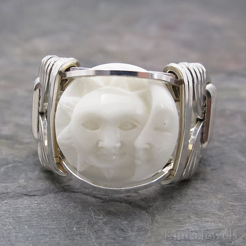 Carved Bone Bali Sun and Crescent Moon Face Sterling Silver Wire Wrapped Ring ANY size