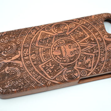 iPhone 5 iPhone 5S Wood Case - Rose Wood Maya Pattern - Handmade Wooden Case and Cover for Your iPhone 6 & iPhone 6 Plus