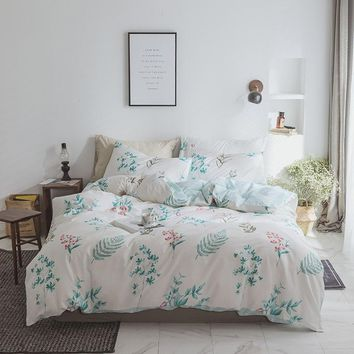 Korean Princess Pastoral Style Flower Printing Pattern queen king double Duvet Cover Bed Sheet Set 100%Cotton Design Bedding Set