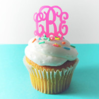 Monogrammed Acrylic Cupcake Toppers (set of 6)