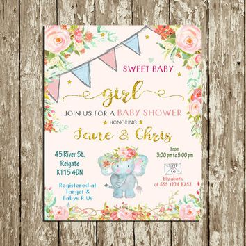 Elephant Baby shower Invitation Printable Its a Girl Floral Baby Shower Invitation Blue Gold Pink Floral Watercolor Baby Shower Invitation